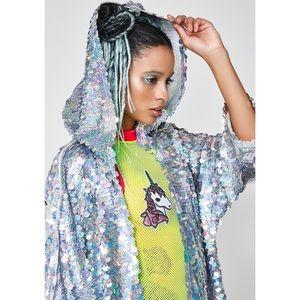 Dolls Kill Jackets & Coats - Club Exx Fly Fairy Sequin Duster
